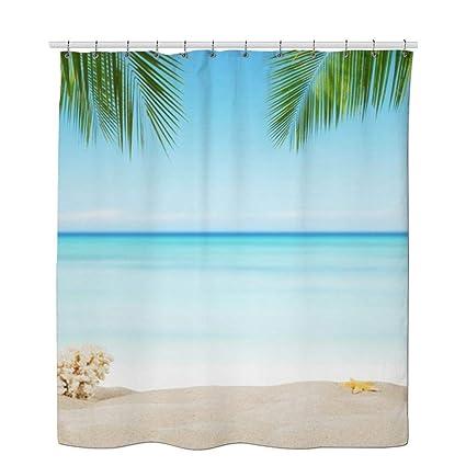 Beach Theme Shower Curtains Plant Curtain Seashell Native Tropical