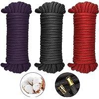 RMENOOR 3 stuks natuurlijke katoenen touw zachte touw koord gedraaid katoen knoop bindtouw 8 MM gevlochten koord, 10…