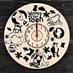 7Arts Winnie the Pooh Wooden Clock – Decorative Wall Clock Made from Eco Wood with Silent Quartz Movement and Autonomous Power Source - Can be Painted, Great Gift Idea