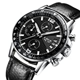Yuheng Quartz Chronograph Waterproof Watches Business And Sport Design Leather Band Strap Wrist Watch (black)
