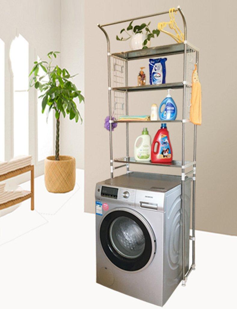Estantes de la lavadora ZCJB Capa De Altura Ajustable De Almacenamiento De Baño Lavadora De Estantes Estantes Balcón Cuarto De Baño WC Estante De Pie Estante De Acero Inoxidable (Color : A)