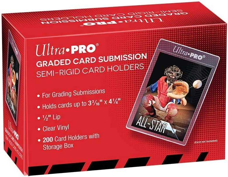 200-Count with Storage Box Ultra Pro Graded Card Submission Semi Rigid 1//2 Lip Tall Sleeves