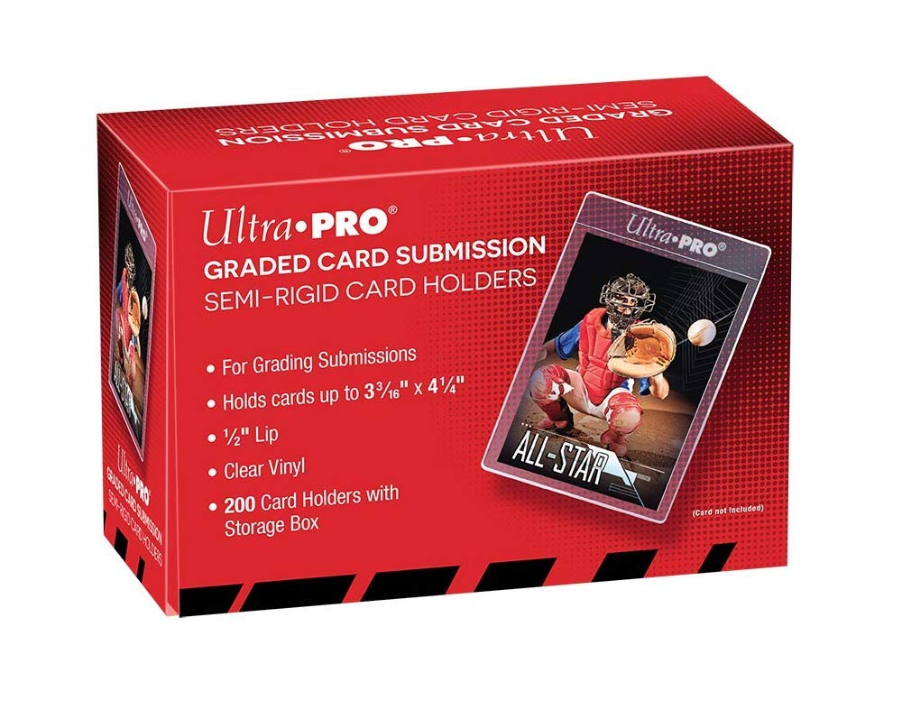 Ultra Pro Graded Card Submission Semi Rigid 1/2'' Lip Tall Sleeves | 200-Count with Storage Box