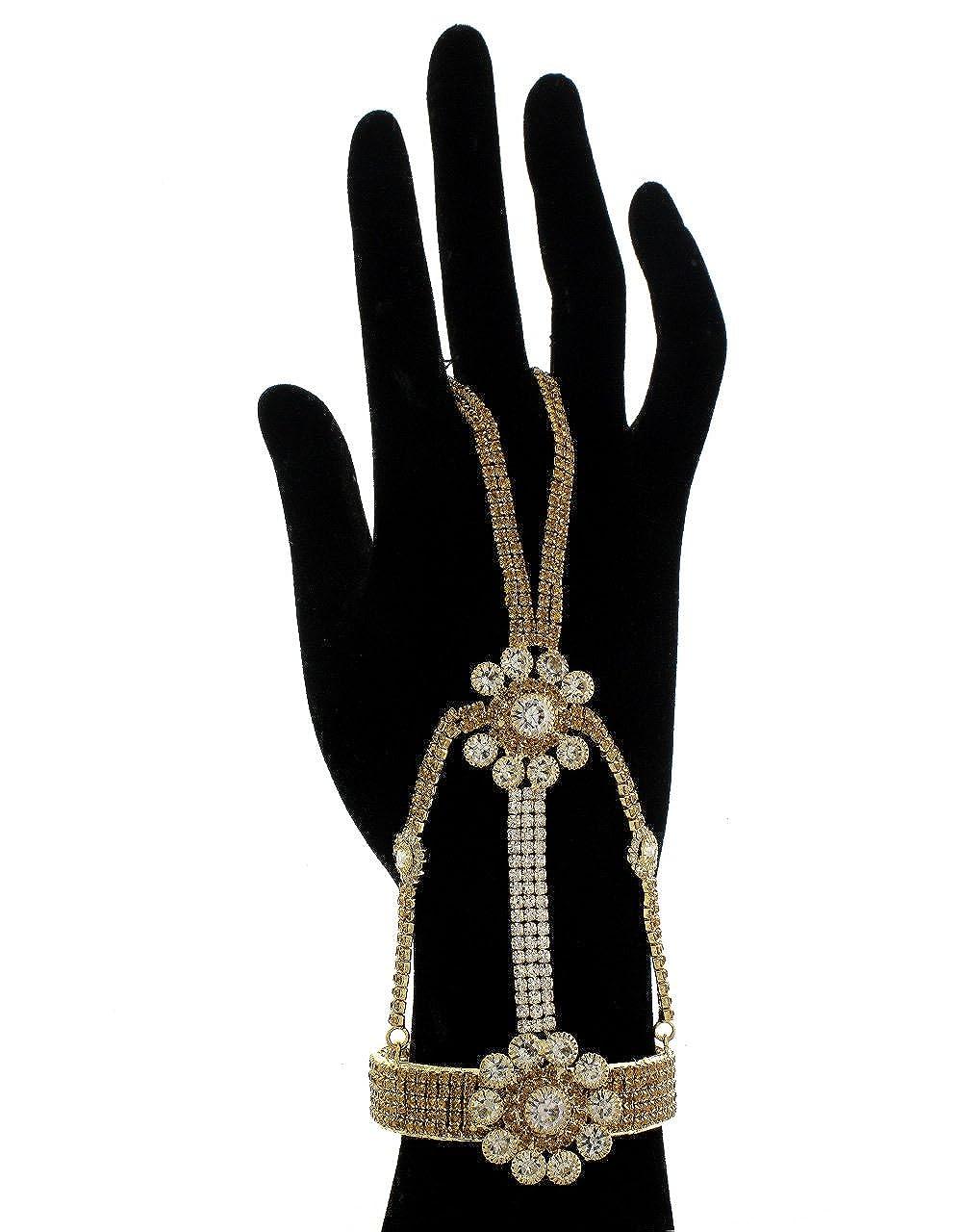 Anuradha Art Golden Finish Designer Classy Wonderful Studded Stone Hand Harness//Hath Phool//Bracelets Kada for Women//Girls