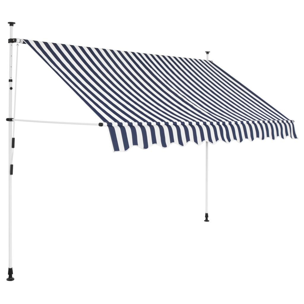 vidaXL Manual Retractable Awning 118'' Blue and White Stripes Shade Sun Shelter by vidaXL