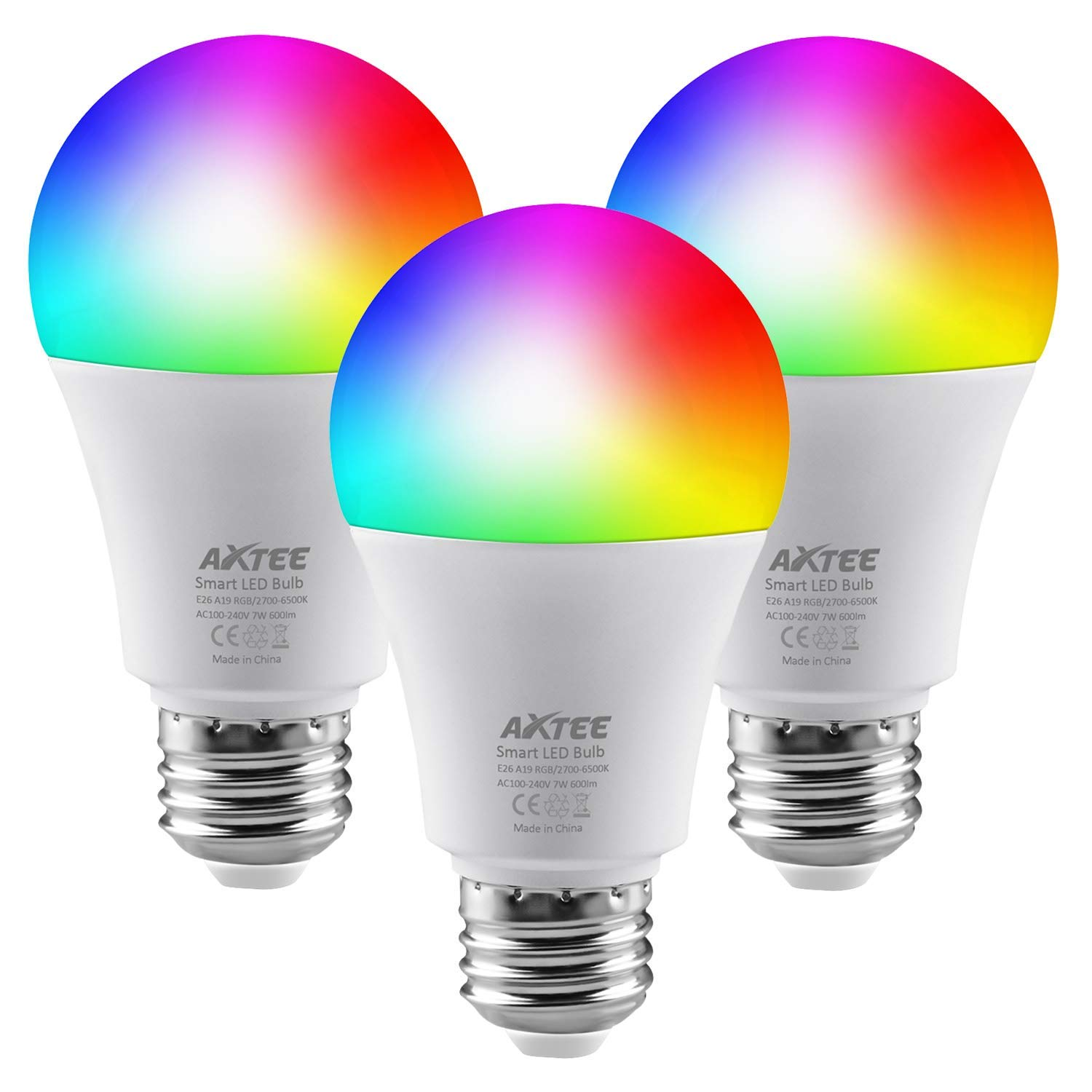 AXTEE Smart WiFi Light Bulb, Smart LED RGB Color Changing Bulb with Remote Control, No Hub Required, E26 Multicolor Dimmable Night Lamp, Compatible with Amazon Alexa and Google Home Assist(7W, 3 PACK)