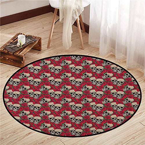 Skid-Resistant Rugs,Rose,Graphic Skulls and Red Rose Blossoms Halloween Inspired Retro Gothic Pattern,Door Floor Mat for Bedroom,4'11