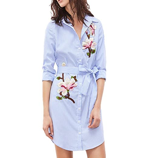dbf060cf7a Star,Women's flower Print Vertical Turn-down Collar Striped Long Sleeves  Embroidered Floral Shirt