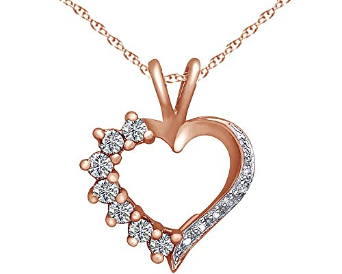 Wishrocks Heart Shape Simulated Ruby Heart Charm Pendant Necklace in 14K Gold Over Sterling Silver