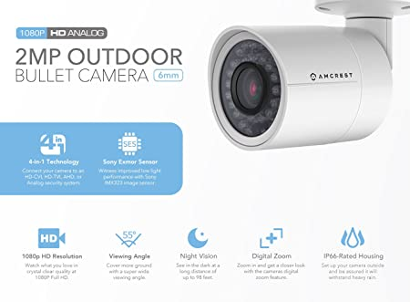 Amcrest Full HD 1080P 1920TVL Bullet Outdoor Security Camera Quadbrid 4-in1 HD-CVI TVI AHD Analog , 2MP 1920×1080, 98ft Night Vision, Metal Housing, 6mm Lens, 55 Viewing Angle, White AF-2MBC-6W