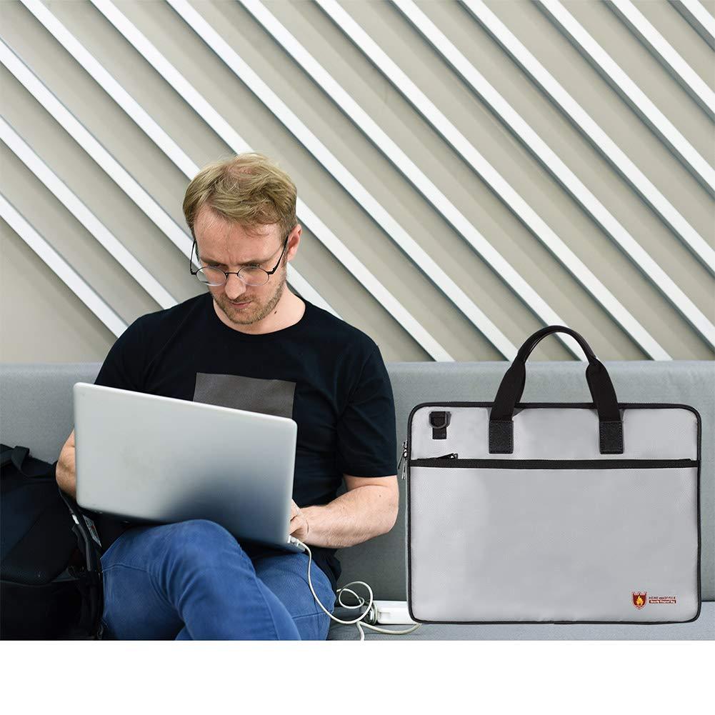 sokey Sac de Document Pochette Ignifuge Sacoches Prot/éger Les Documents Importants largent Bijoux Batterie PC Portable Contre Le Feu leau 28x38cm