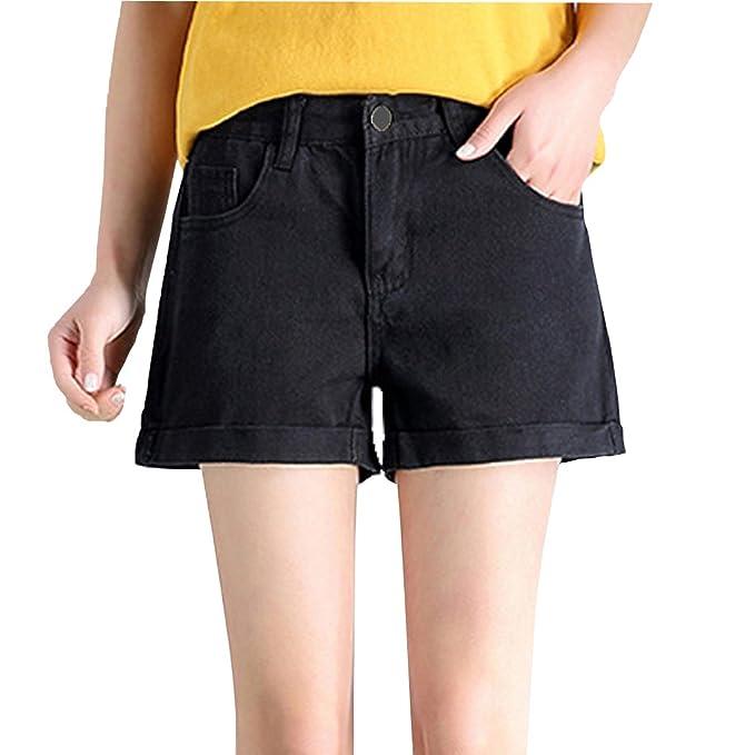 9907556ff442c Weigou Woman Denim Shorts Juniors Vintage Denim High Waist Folded Hem Jeans  Shorts (Black