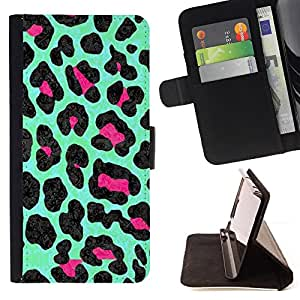 For Motorola Moto E 2nd Generation Leopard Green Mint Pattern Fur Pink Style PU Leather Case Wallet Flip Stand Flap Closure Cover