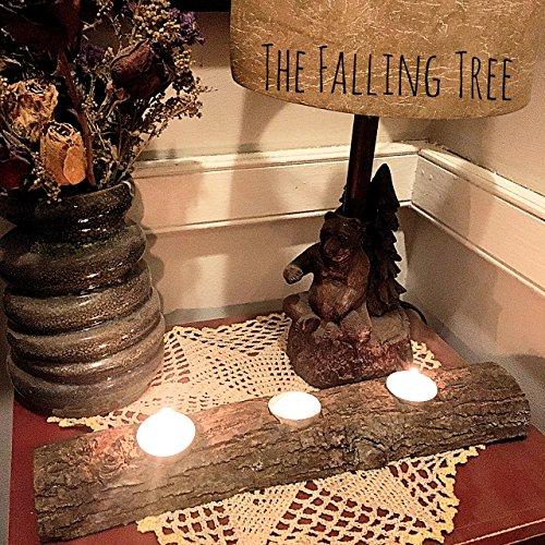 Rustic Log Tea Light Candle Holder Holds 3 Tea Light Candles Half of a real Log ()