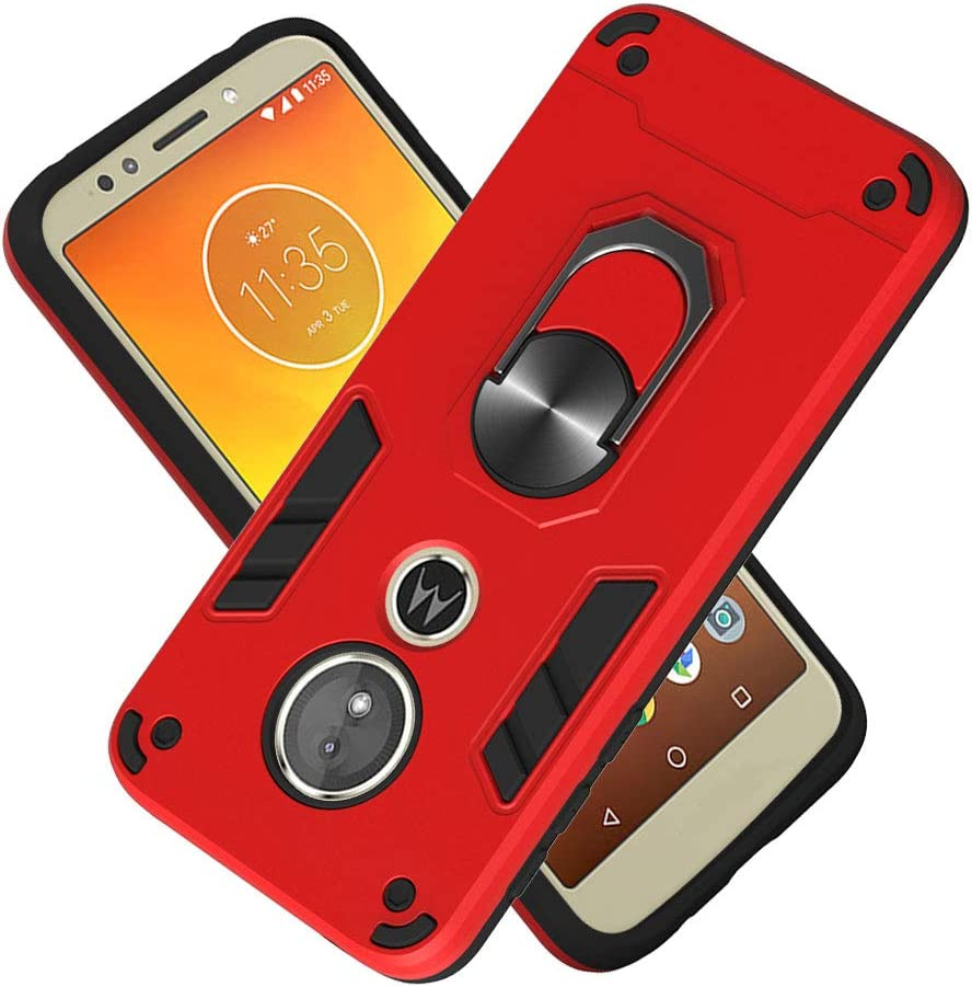 WIITOP Compatible with Motorola Moto G6 Play Case Moto E5 Case 2018 Moto G6 Forge Cover Military Grade Phone Case with 360 Degree Rotating Holder Kickstand Support Magnetic Car Mount Red
