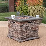 Stone Outdoor Natural Stone Finished Square Fire Pit - 40,000 BTU
