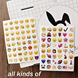 4 Pack 192 Piece Die Cut Emoji Stickers Ipod Ihome Iphone Home Button Phone Luggage Laptop Macbook Notebook Message Decal Funny Puffy Smile Vinyl Sticker Decor Lavish Unique Mini Cute Face Decals Kit