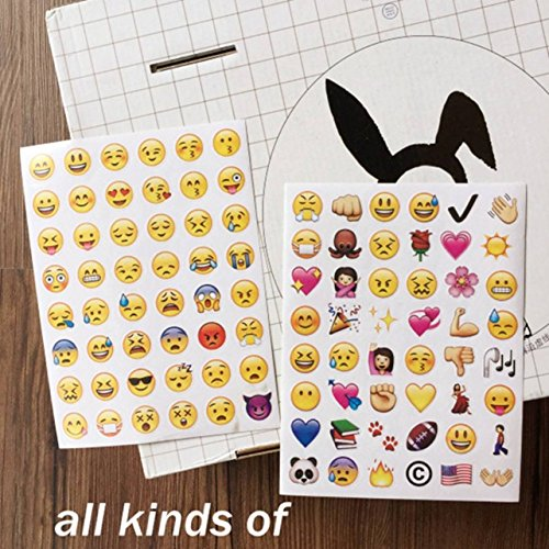 Years Ellen's Halloween Costumes The Over (4 Pack 192 Piece Die Cut Emoji Stickers Ipod Ihome Iphone Home Button Phone Luggage Laptop Macbook Notebook Message Decal Funny Puffy Smile Vinyl Sticker Decor Lavish Unique Mini Cute)