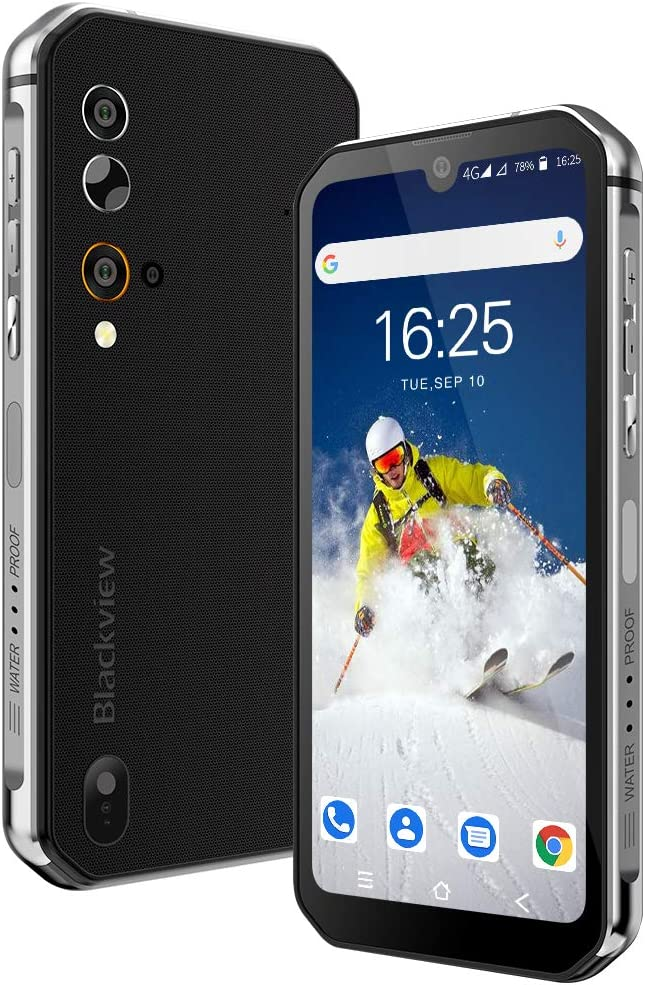 Móvil Resistente, Blackview BV9900E Android 10 Impermeable Smartphone 4G, 6GB+128GB, 128GB SD, 48MP+16MP, Helio P90 Octa-Core, IP68/IP69 Móvil Libre Antigolpes, Carga Inalámbrica/NFC/Face ID/GPS