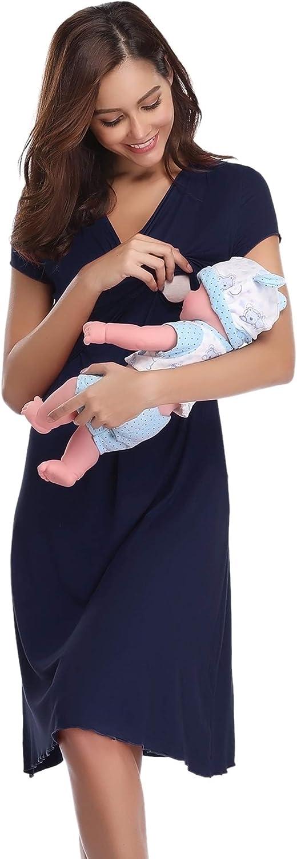 Hawiton Womens Breastfeeding Nightdress Maternity Pyjamas Set Nursing Nightwear Full Length Nightshirt A-line Dress Dark Blue