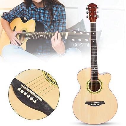 Guitarra acústica, 40 pulgadas, tamaño completo, cuerda de acero ...
