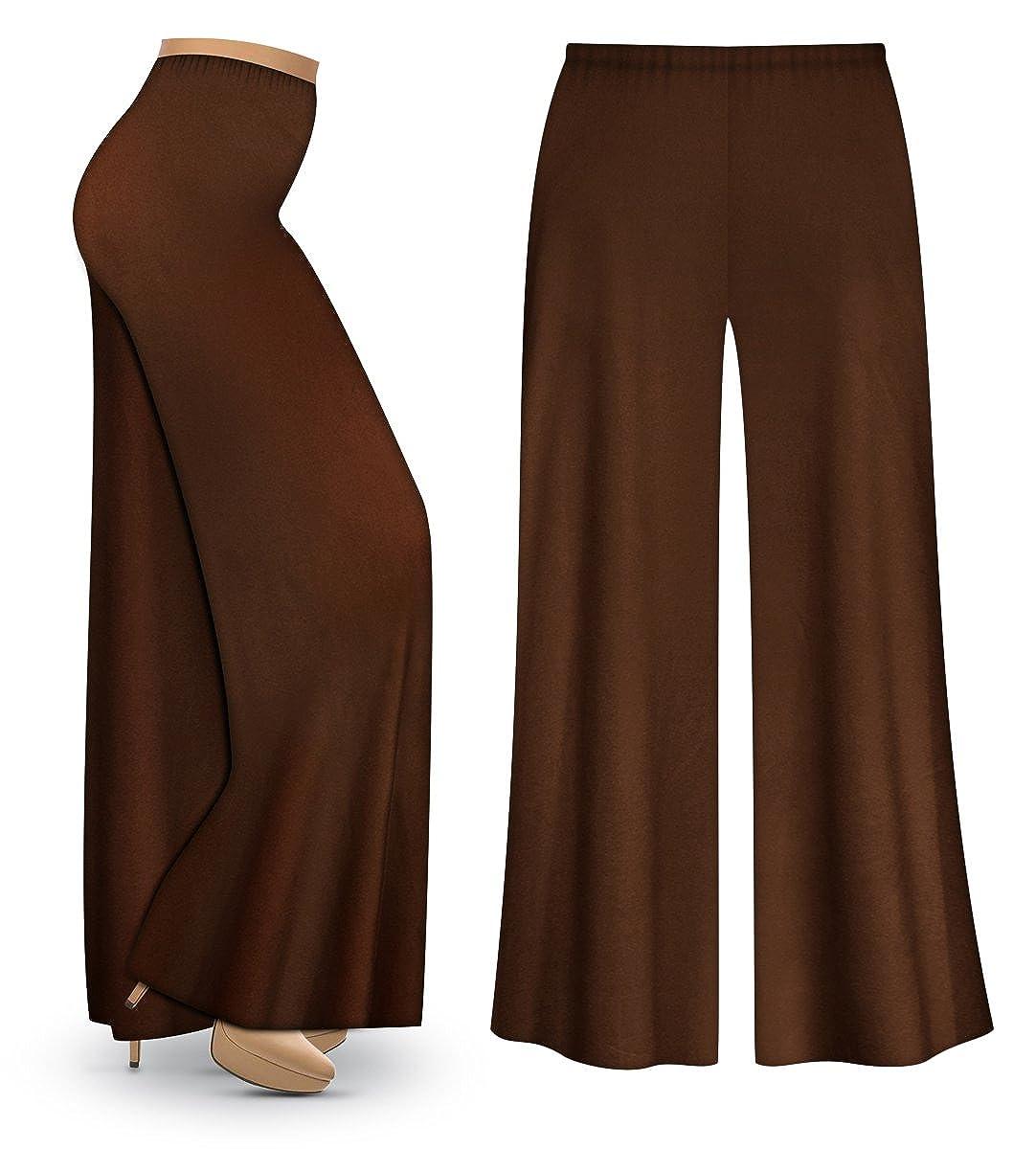 2927c5cc68a Sanctuarie Designs Brown Poly Cotton Jersey Knit Wide Leg Plus Size  Supersize Palazzo Pants at Amazon Women s Clothing store