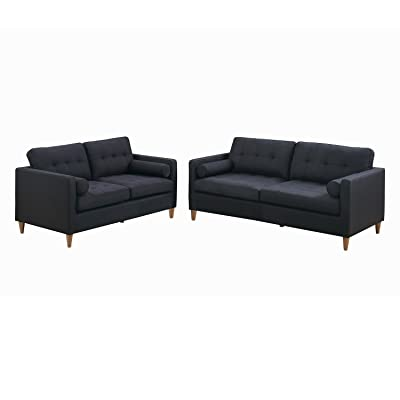 Poundex F6536 Bobkona Malvern 2-Piece Sofa and Loveseat Set, Black