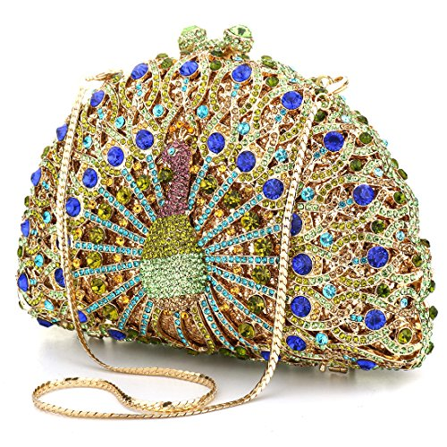 Bag Evening Evening colored Banquet Clutch Diamonds Clutches Peacock Women for Purse Multi Luxury Glitter Bag Crystal fR7URx
