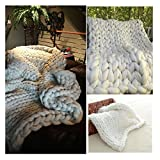 Chunky Giant Knit Thick Yarn Blanket Bulky Knit, Extreme knitting Knitted Pet Bed Chair Sofa Yoga Mat Rug (51 x 67 inches (130 cm x 170 cm), cream)