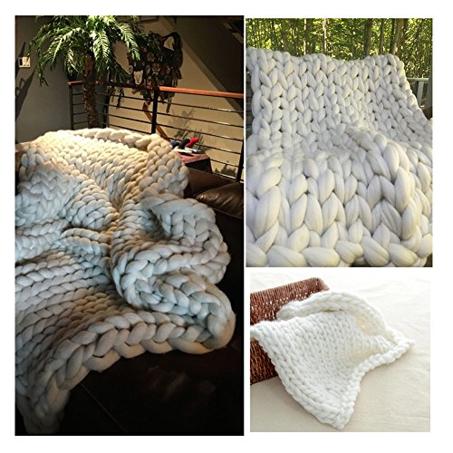 Chunky Giant Knit Thick Yarn Blanket Bulky Knit, Extreme knitting Knitted Pet Bed Chair Sofa Yoga Mat Rug (51 x 67 inches (130 cm x 170 cm), cream) by HomeModa