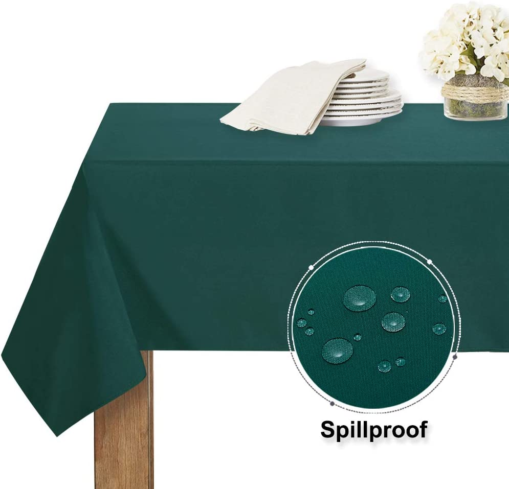 RYB HOME Waterproof Tablecloth Rectangle - Oil-Proof Spill-Proof Washable Table Cloth Heat & Stain Resistant Table Cover for Indoor and Outdoor Use, 60 x 120 inch, Hunter Green