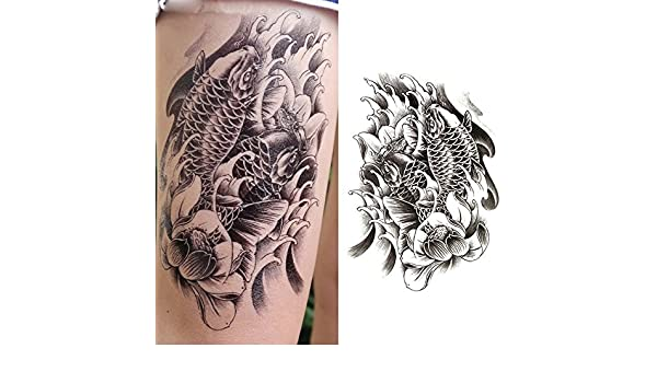 Oottati Tatuajes Temporales Muslo Brazo Koi (2 hojas): Amazon.es ...