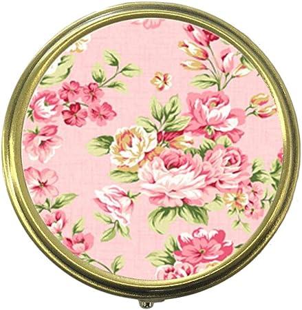 Cecillia Floral Vintage personnalis/é Mode Style Bronze Pilulier Coque /à 3/Compartiments Pill Box//Pill Case Pocket