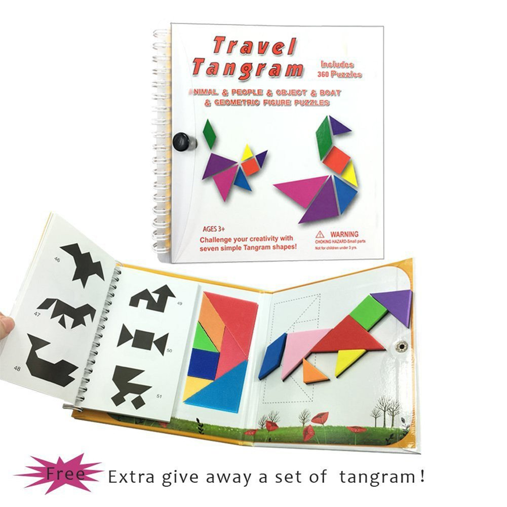 USATDD Tangram Game 360 Magnetic Puzzle Travel Games jigsaw with Solution Questions Kid Adult Challenge IQ Book Colorful Shapes Educational Toy For 3-100 Years Old 【2 set of Tangrams 360 Patterns】