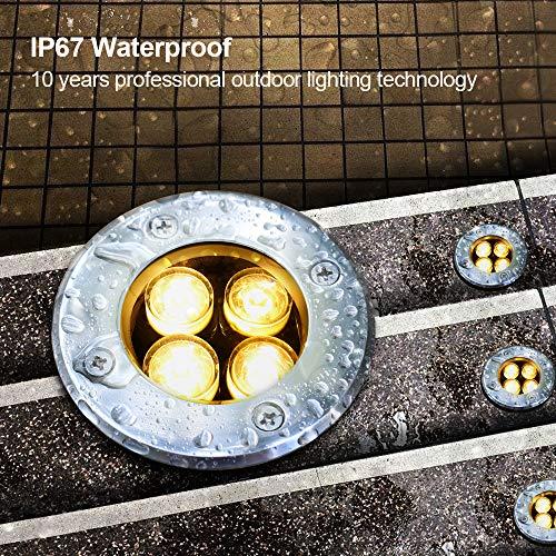 LED Landscape Lights, Sunriver 4W Low Voltage Well Lights IP67 Waterproof Outdoor In-ground High Bright Landscape Lights with Transformer 12V 24V Yard Spotlight (6 Pack, Warm White) by SUNRIVER (Image #2)