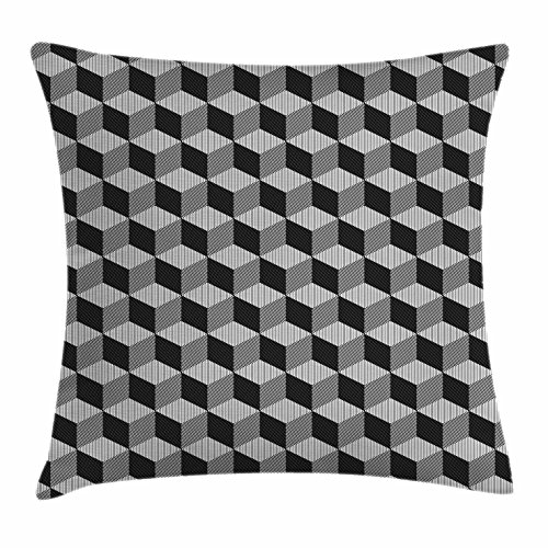 Black and White Throw Pillow Cushion Cover by Ambesonne, Monochrome Cube Composition with Abstract 3D Design Optical Illusion, Decorative Square Accent Pillow Case, 20 X 20 Inches, Black and - Optical Design Interior Shop