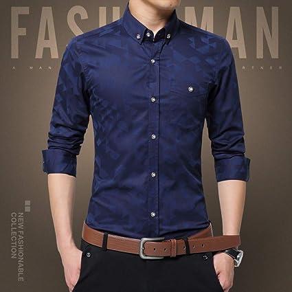CSDM Camisa de Hombre Casual Camisa de Hombre de Manga Larga ...