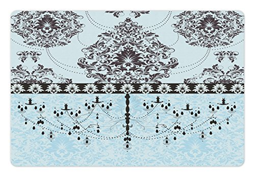 Lunarable Flower Pet Mat for Food and Water, Vintage Invitation Card with Black Flowers Leaves Ribbon and Chandelier Print, Rectangle Non-Slip Rubber Mat for Dogs and Cats, Pale Blue Black Entry Chandelier Art