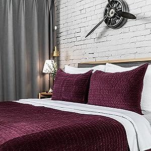 "Elegant Life All Season Super Soft Royal Velvet Bed Quilt, Queen (88""x92""), Claret-Red"