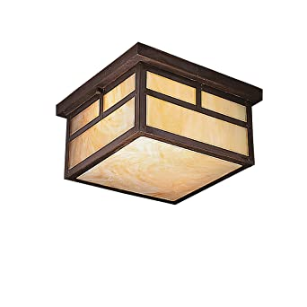 Kichler Lighting 9825CV La Mesa 2 Light Incandescent Outdoor Ceiling Flush  Mount, Canyon View