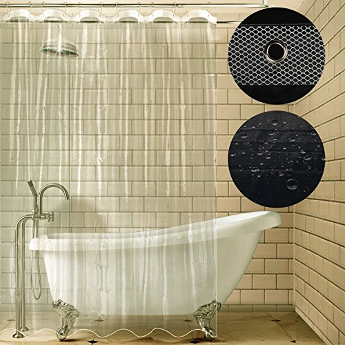 Carttiya Shower Curtain Liner, Mildew Resistant Anti-bacterial Shower Curtain, Non Toxic Eco-friendly No Chemical Odor, Metal Grommets 72x72 - Hotel Curtain Shower Nylon