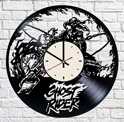 Ghost Rider Vinyl Wall Clock Motorcycle Unique Gifts Living Room Home Decor