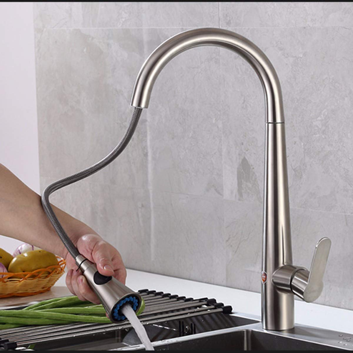 B QPGGP-Kitchen mixer mixer mixer Stainless steel kitchen faucet 304 cold and hot kitchen stainless steel washbasin mixing faucet,B bb4b01