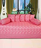 Geonature pink Ghuta cotton Diwan set 1 single bedsheet, 5 Cushion Covers and 2 Bolster Covers (Ghuta2)