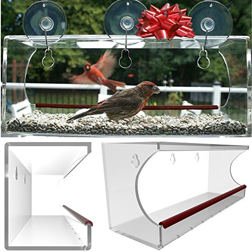 Large Window Bird Feeder: See Through Clear Acrylic Design Provides a Unique In House Birding Experience, 3 Heavy Duty Suction Cups with Hooks Mount to Glass for an Effortless Install, Best Gift Idea! (Platform Window Mount)