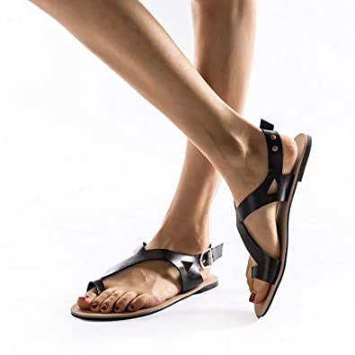 771be28bc9b BSGSH Women s Flat Sandal with Toe Ring Hollow Out Gladiator Thong Beach  Shoes Flip Flops (