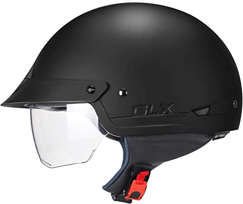 GLX Unisex-Adult Size M14 Cruiser Scooter Motorcycle Half Helmet with Free Tinted Retractable Visor DOT Approved