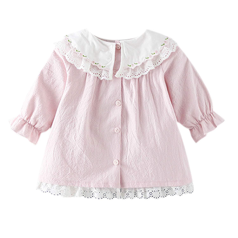 Baby Girls Lace Blouse Shirts Loose Swing Ruffled Top Half Sleeve Tunic Shirts 05NFA0149-ZL
