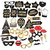 Happy Birthday Photo Booth Props Kit - Premium Gold & Black Printed Signs Party Decorations - 36 Pieces with Wooden Sticks - Funny Selfies for Boys Girls Kids Adults Families and Friends to Enjoy!