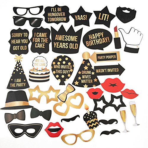 Happy Birthday Photo Booth Props Kit - Premium Gold & Black Printed Signs Party Decorations - 36 Pieces with Wooden Sticks - Funny Selfies for Boys Girls Kids Adults Families (Props For Photo Booths)